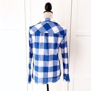 J. Crew Tops - J. Crew Blue Buffalo Check Gingham Popover Top